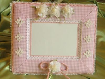 Cornice quadrettino rosa